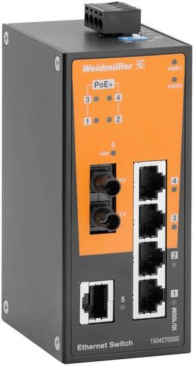 Průmyslový ethernetový switch Weidmüller, IE-SW-BL06T-1TX-4POE-1ST, 10 / 100 Mbit/s, funkce PoE