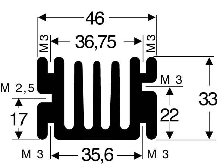 Chladič Fischer Elektronik SK 68 75 SA, 75 x 46 x 33 mm, 3,6 kW