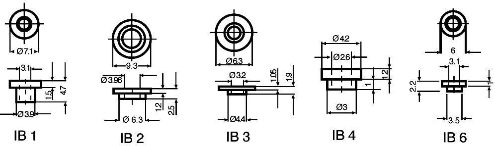 Izolační průchodka Fischer Elektronik IB 3, vnější Ø 4,4/6,3 mm, vnitřní Ø 3,2 mm