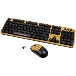 Sada klávesnice a myše LogiLink ID0176, dřevo, černá