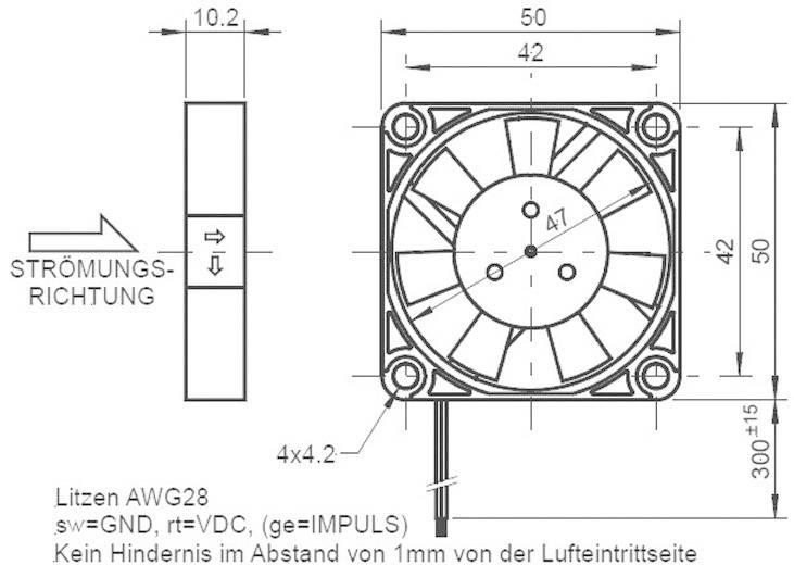 Axiální ventilátor Sepa MFB50E12, 515052000, 12 V/DC, 25 dBA, 50 x 50 x 10 mm
