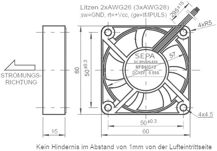 Axiální ventilátor Sepa MFB60D12, 516042000, 12 V/DC, 26 dBA, 60 x 60 x 15 mm