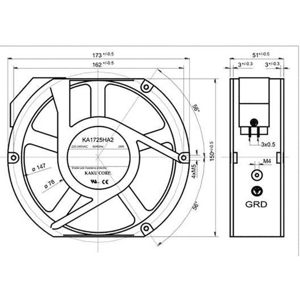 Axiální ventilátor Sepa KA1725HA2BMT, 861578403, 230 V/AC