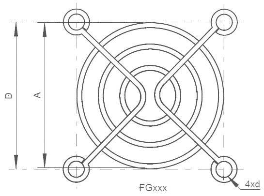 Ochranná mřížka ventilátoru SEPA FG60, 60 mm x 60 mm