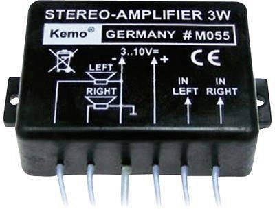 Stereofónny zosilňovač Kemo M055, 9 V/DC, 3 W, 8 Ohm, hotový modul