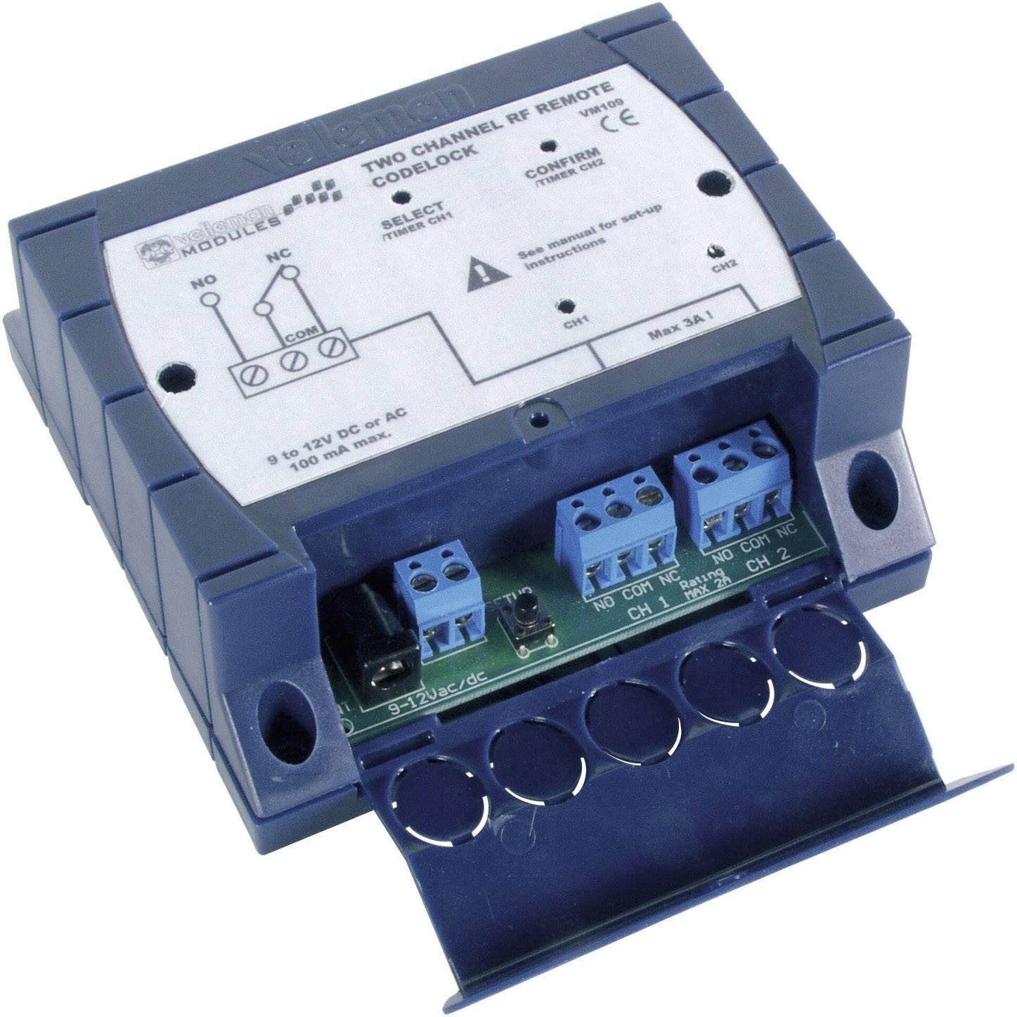 2 kanálový vysielač / prijímač Velleman Max.dosah: 30 m 12 V / DC