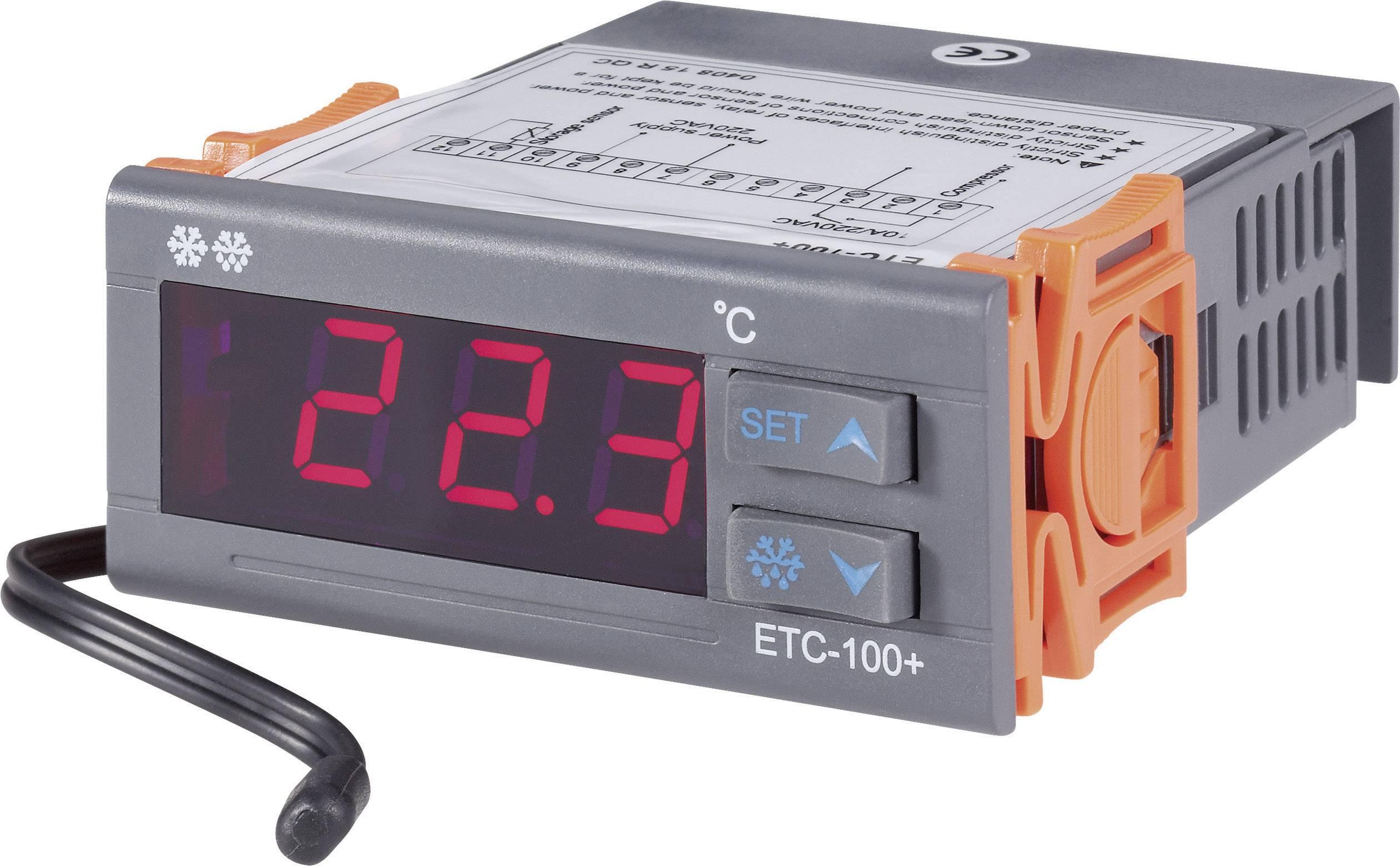 Panelový termostat Voltcraft ETC-100+, 71 x 30 mm, 1 relé pre chladenie