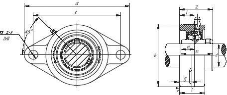 Ložiskový domček HTB UCFL 206, Ø otvoru 30 mm