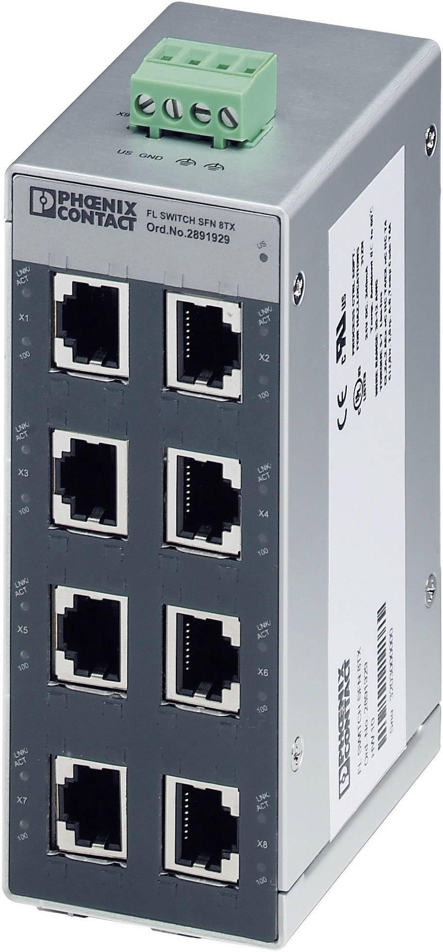 Ethernetový switch Phoenix Contact FL SWITCH SFN 8TX (2891929), 140 mA