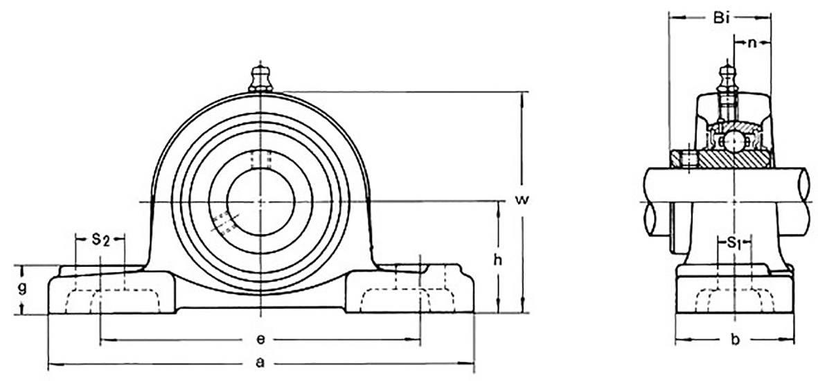 Ložiskové teleso HTB UCP 205, Ø otvoru 25 mm