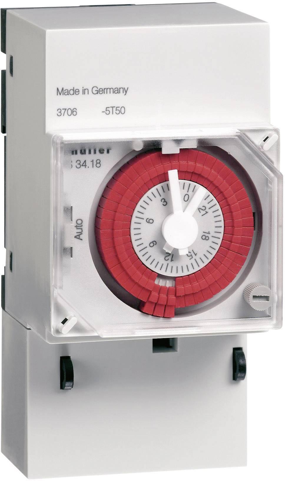 Spínací hodiny na DIN lištu Müller VS 30.18, 12 V/DC, 24 V/DC/AC