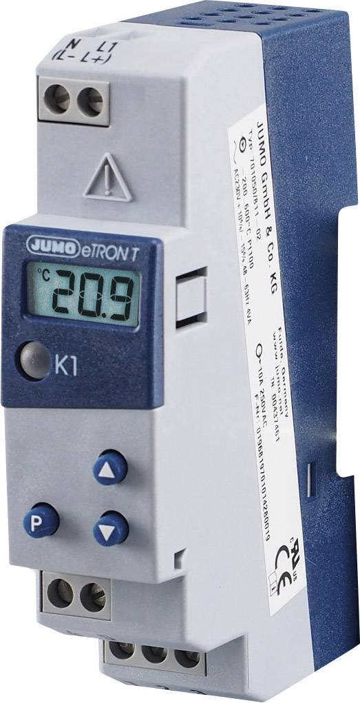 Termostat na DIN lištu Jumo eTRON, 230 V/AC, relé 250 V/10 A