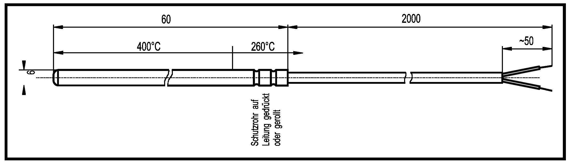 Teplotný článok Enda K1-TC-J-600, -50 do 600 °C, 2 m, 6 mm