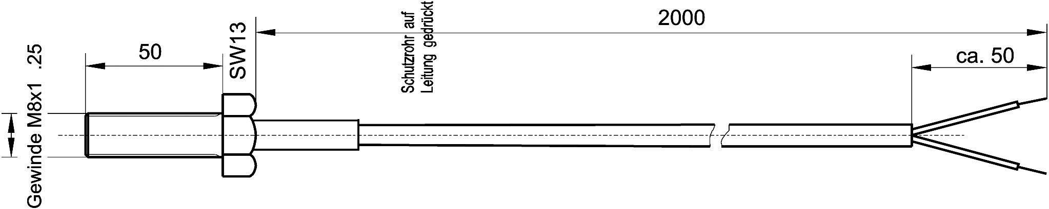 Termočlánek Enda K10-Pt100, podle DIN EN60751, -50 až 400 °C, délka kabelu 2 m