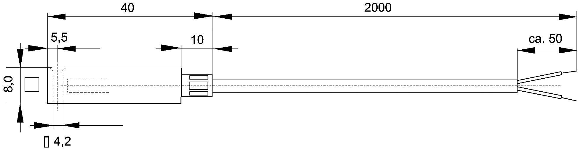 Termočlánek Enda K10-TC-J, -50 až 400 °C, délka kabelu 2 m