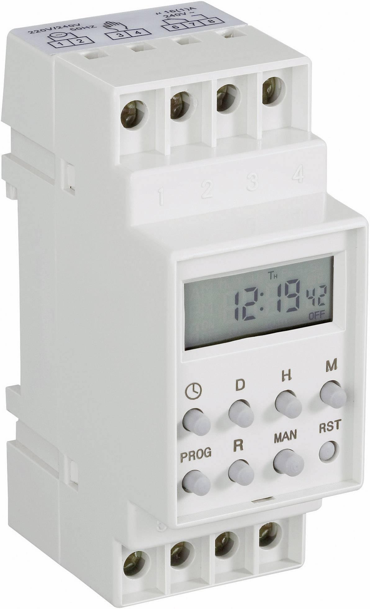 Časovač na DIN lištu Conrad Components 230 V/AC, 16 A/250 V