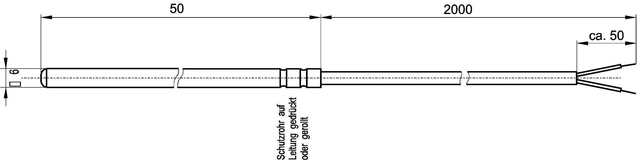 Teplotný senzor Enda K1-Pt100-S-200, -50 do 200 °C, 2 m, 6 mm