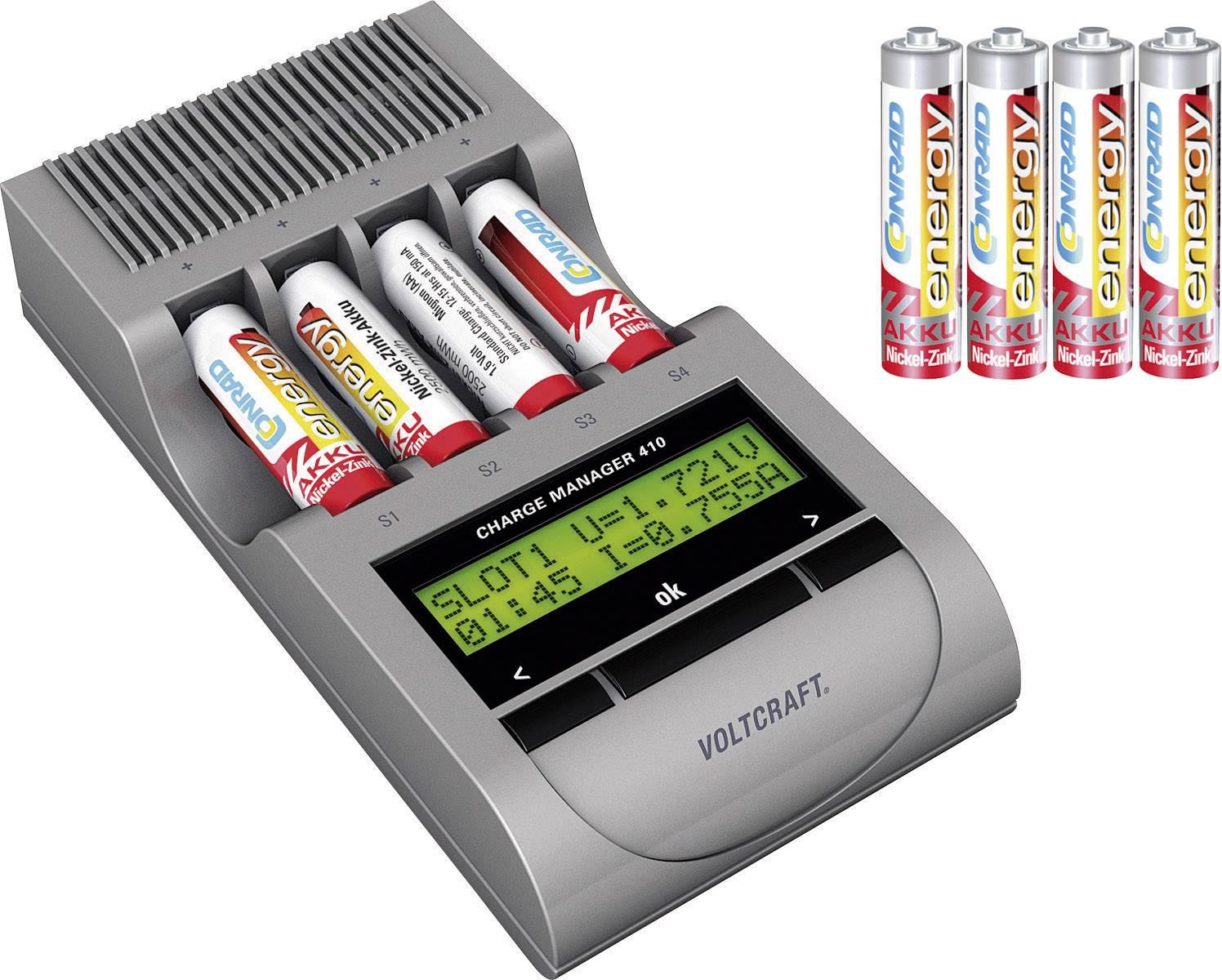 Inteligentná nabíjačka Voltcraft Charge Manager 410 + 4 micro a mignon NiZn akumulátory