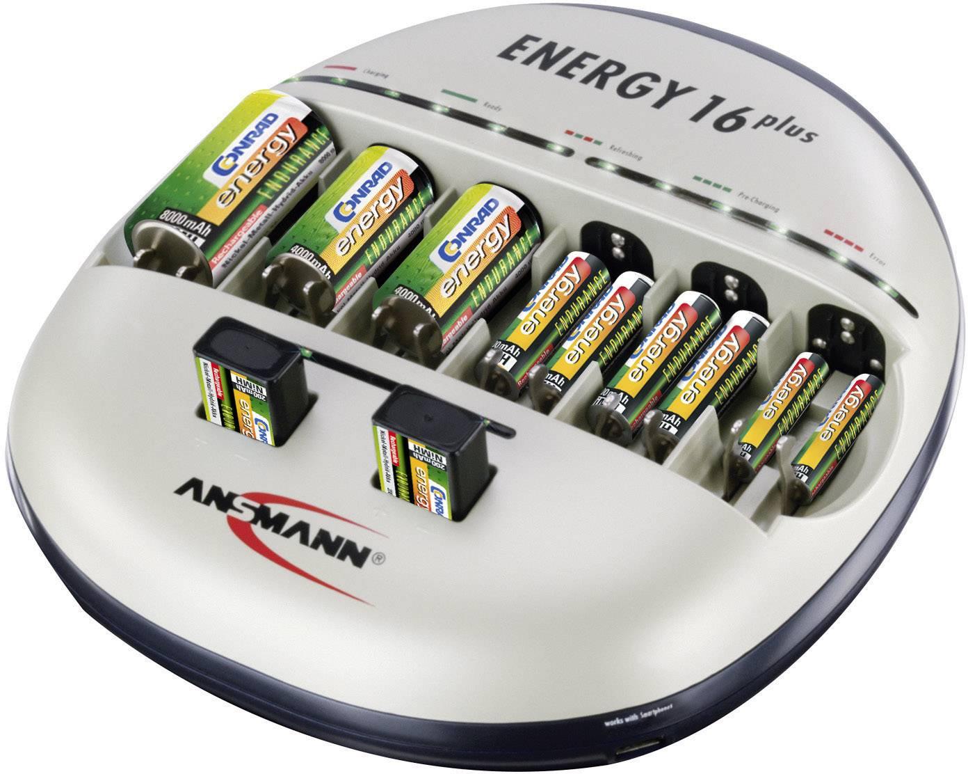 Nabíjačka na okrúhle akumulátory Ansmann Energy 16 plus, 1001-0004-510, micro (AAA), mignon (AA), baby (C), mono (D), 9 V blok