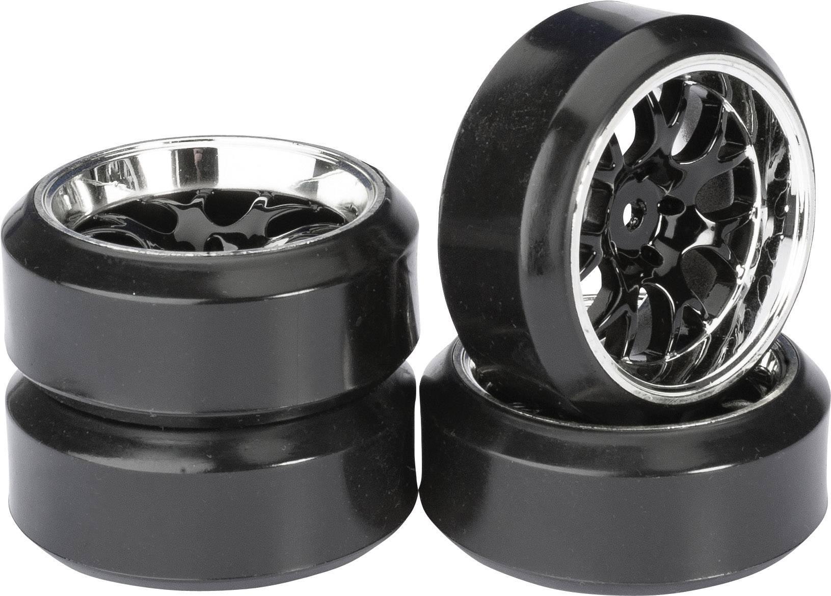 Kompletné kolesá Drifter C Absima 2510042 pre cestný model, 61 mm, 1:10, 4 ks, čierny chróm