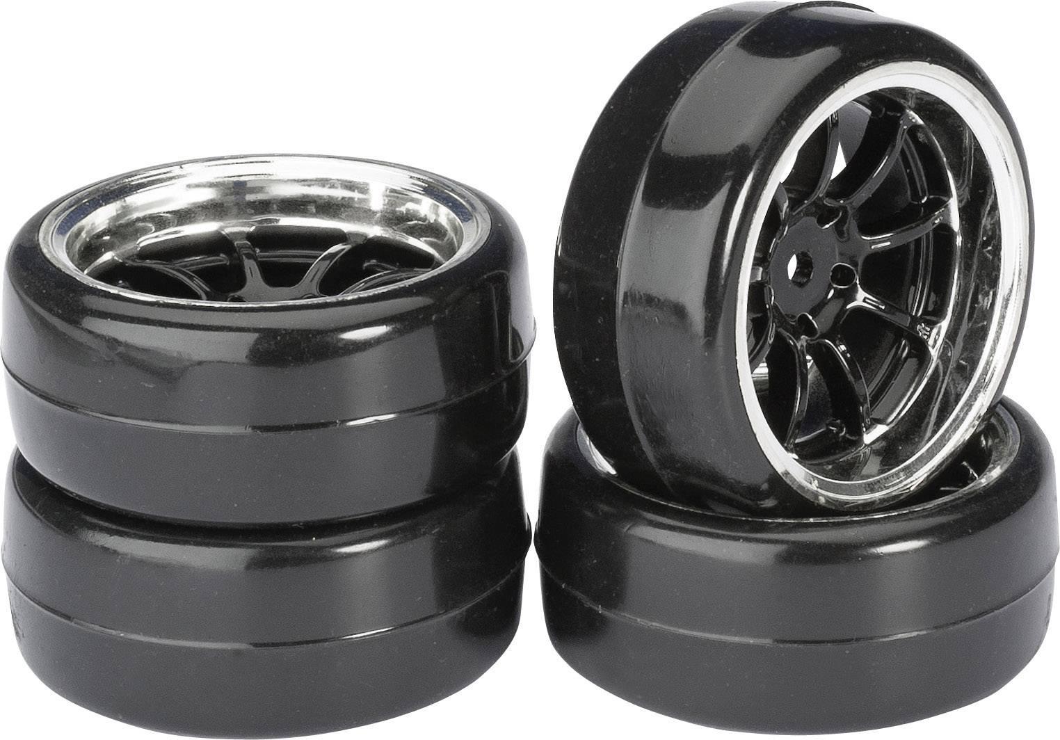 Kompletné kolesá Drifter B Absima 2510043 pre cestný model, 61 mm, 1:10, 4 ks, čierny chróm