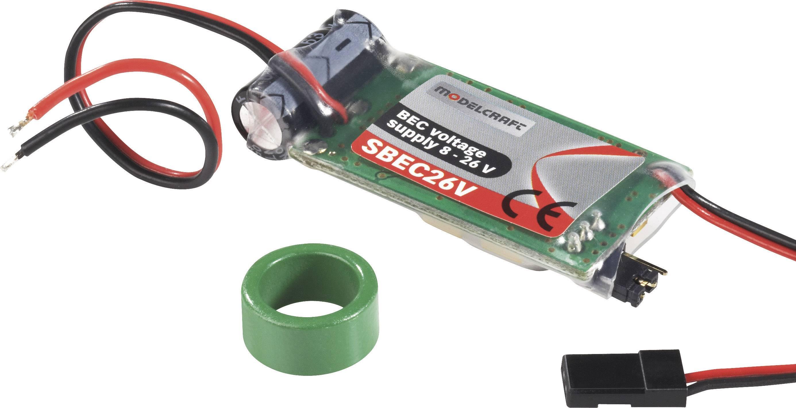 Napájecí BEC obvod s konektory JR, 8 - 26 V