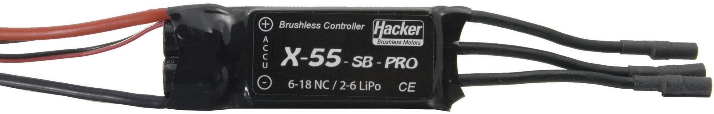 Regulátor otáček Brushless Hacker X-Pro, 8 - 18 NiCd / 2 - 6 LiPo, 55 A, JR