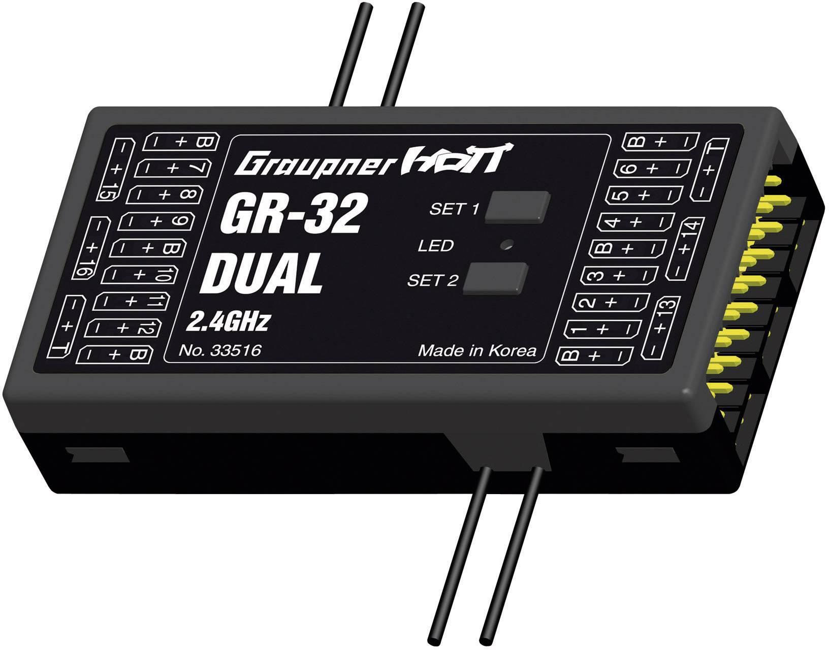 Přijímač Graupner GR-32 HoTT, 2,4 GHz FHSS, 16 kanálů, JR