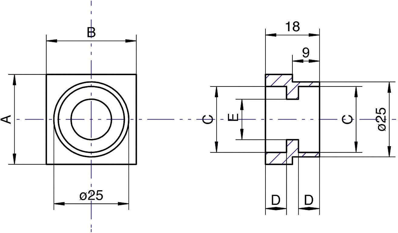 Dvojitá příruba ložiska Modelcraft, 22 mm