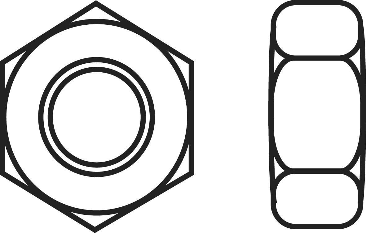 Šestihranné matice TOOLCRAFT, DIN 934, mosaz, M2, 20 ks