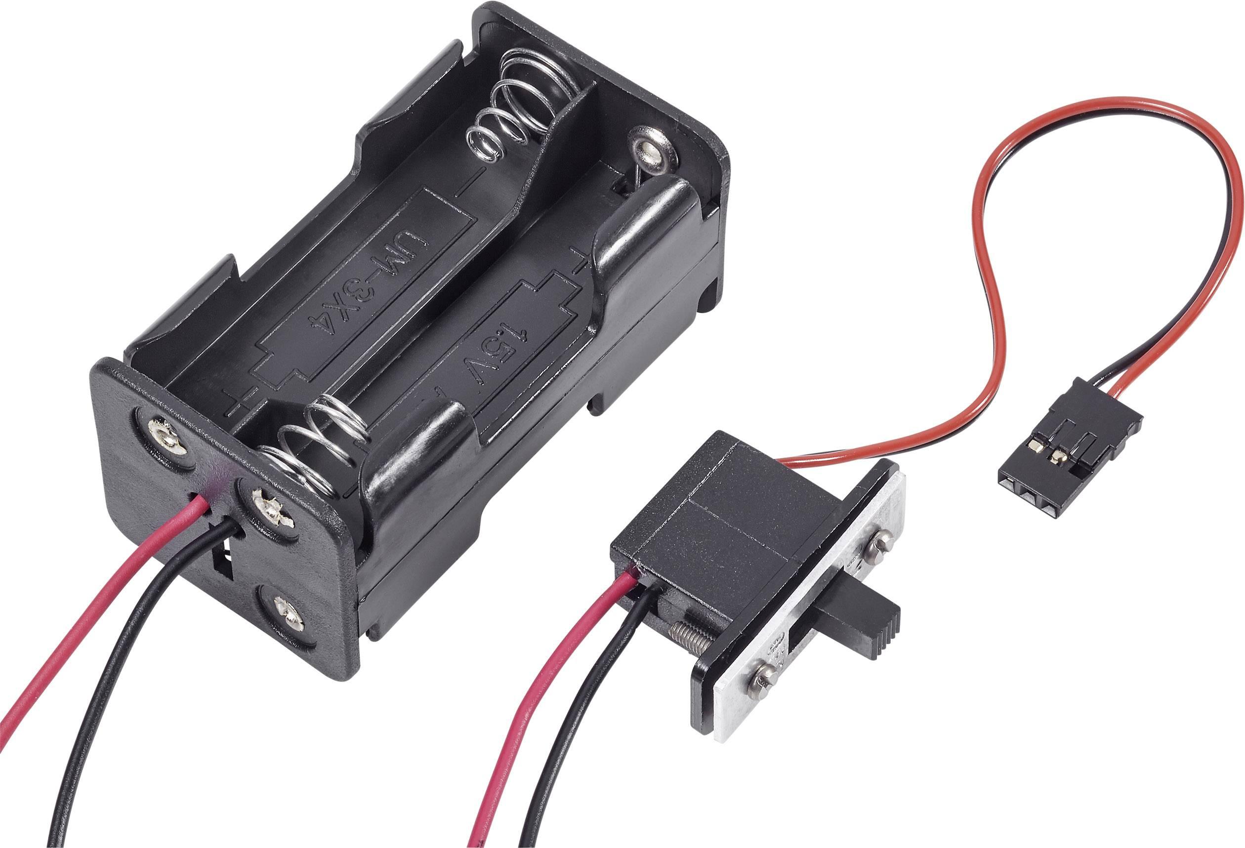 Držák baterie Modelcraft, 4x AA, JR, se spínačem