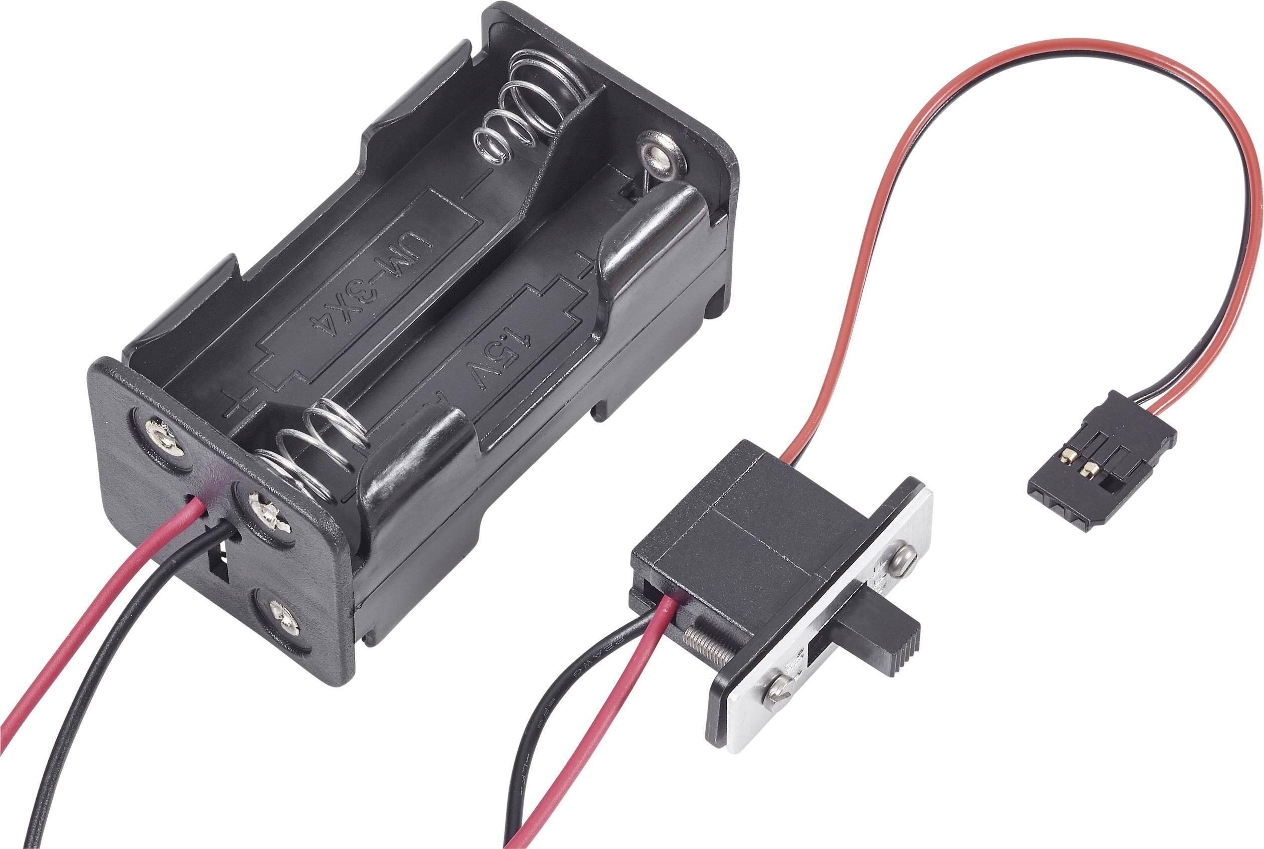 Držák baterie Modelcraft, 4x AA, Futaba, se spínačem
