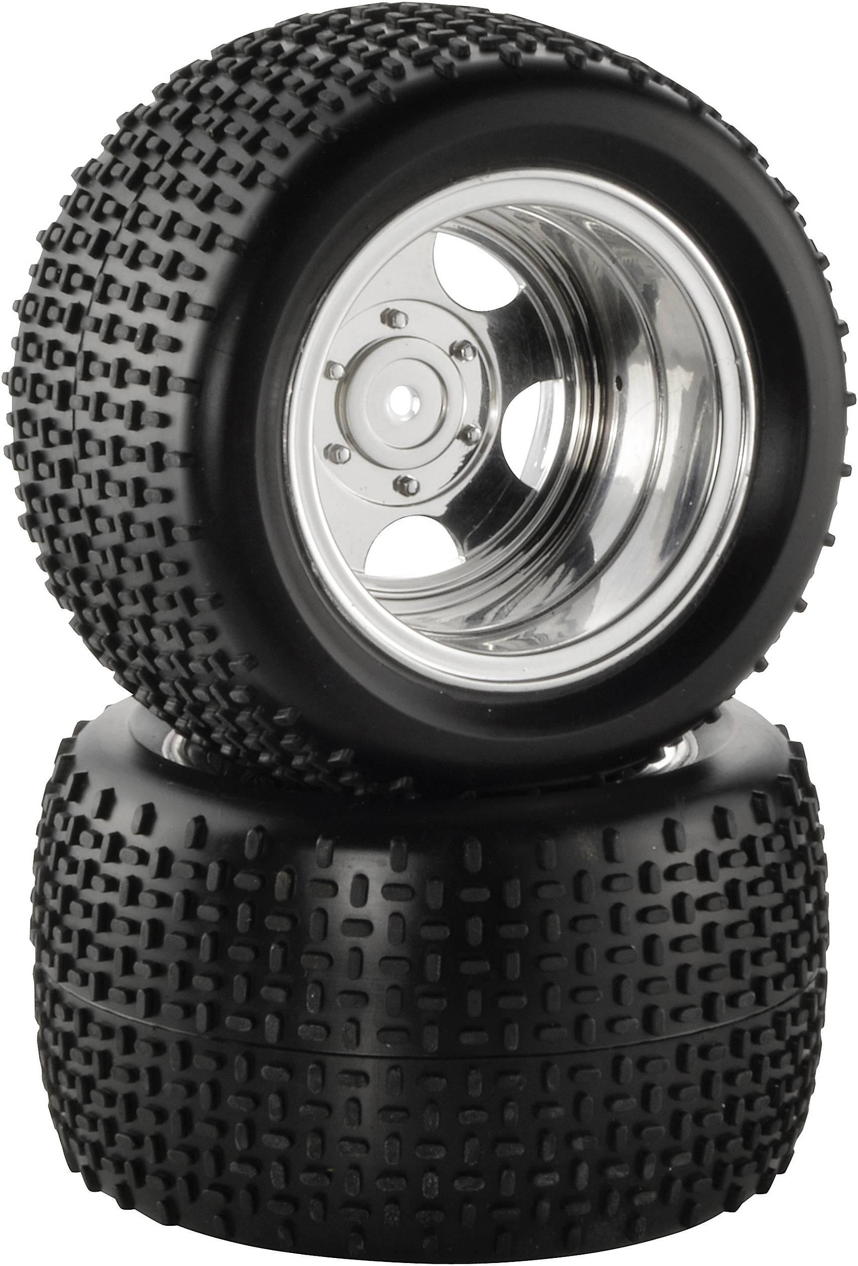 Kompletné kolesá Quer-Spike Reely CB202BG1 pre truggy, 98 mm, 1:10, 2 ks, chróm