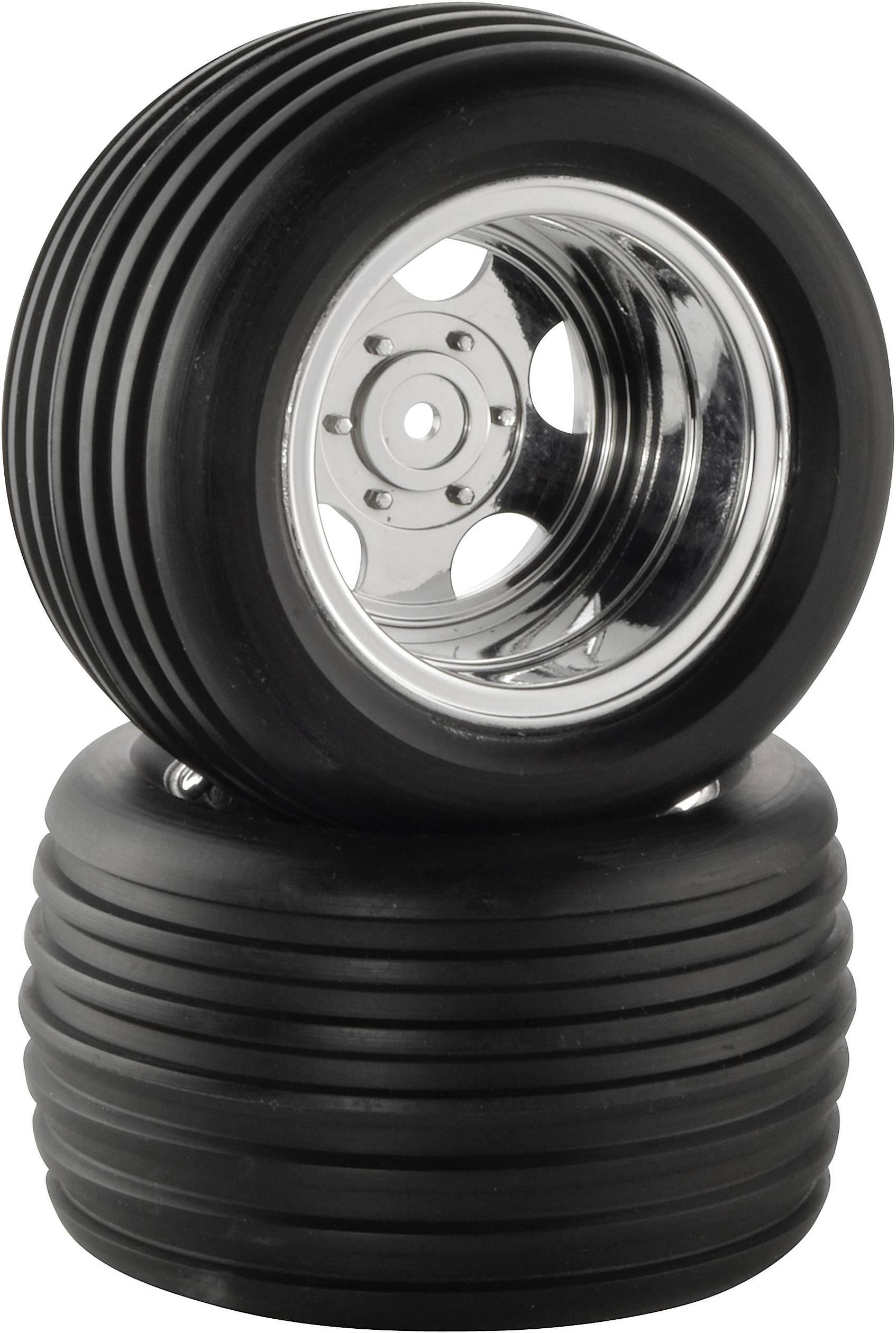 Kompletné kolesá drážkované pneumatiky Reely CB3603BG1 pre truggy, 98 mm, 1:10, 2 ks, chróm