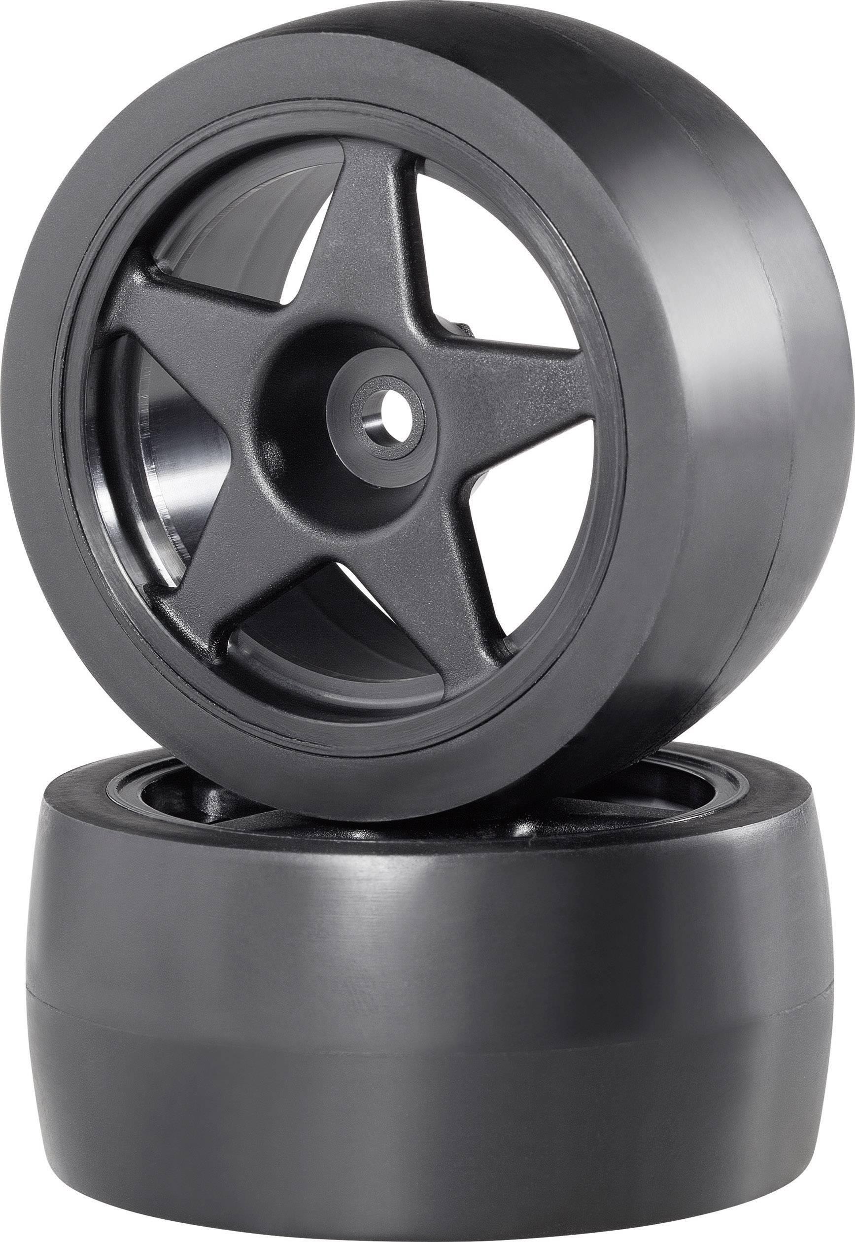 Kompletné kolesá Slick široká Reely CB3692BB1 pre buggy, 67 mm, 1:10, 2 ks, čierna