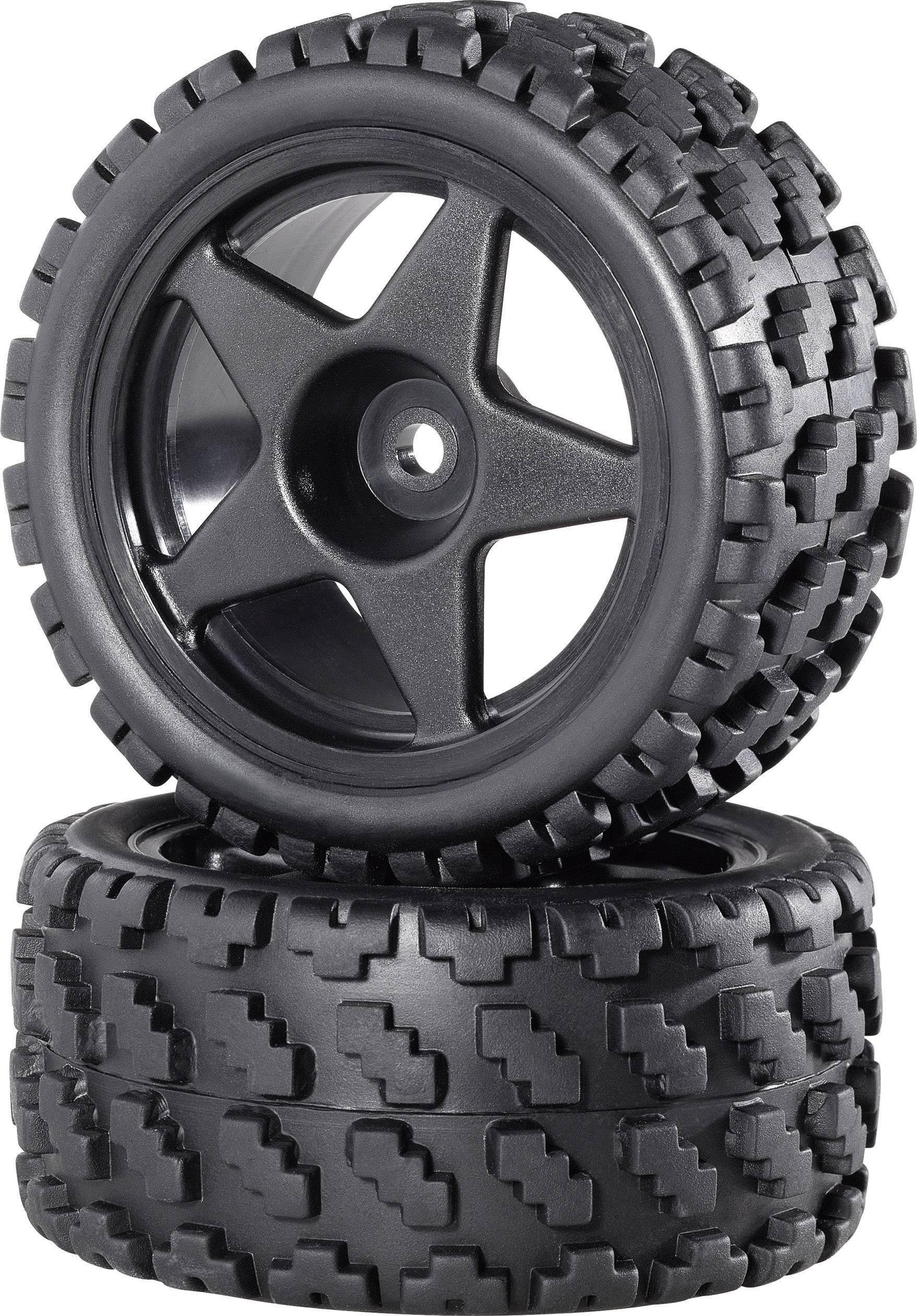 Kompletné kolesá Rally-Block breit Reely CB36901BB1 pre buggy, 80 mm, 1:10, 2 ks, čierna