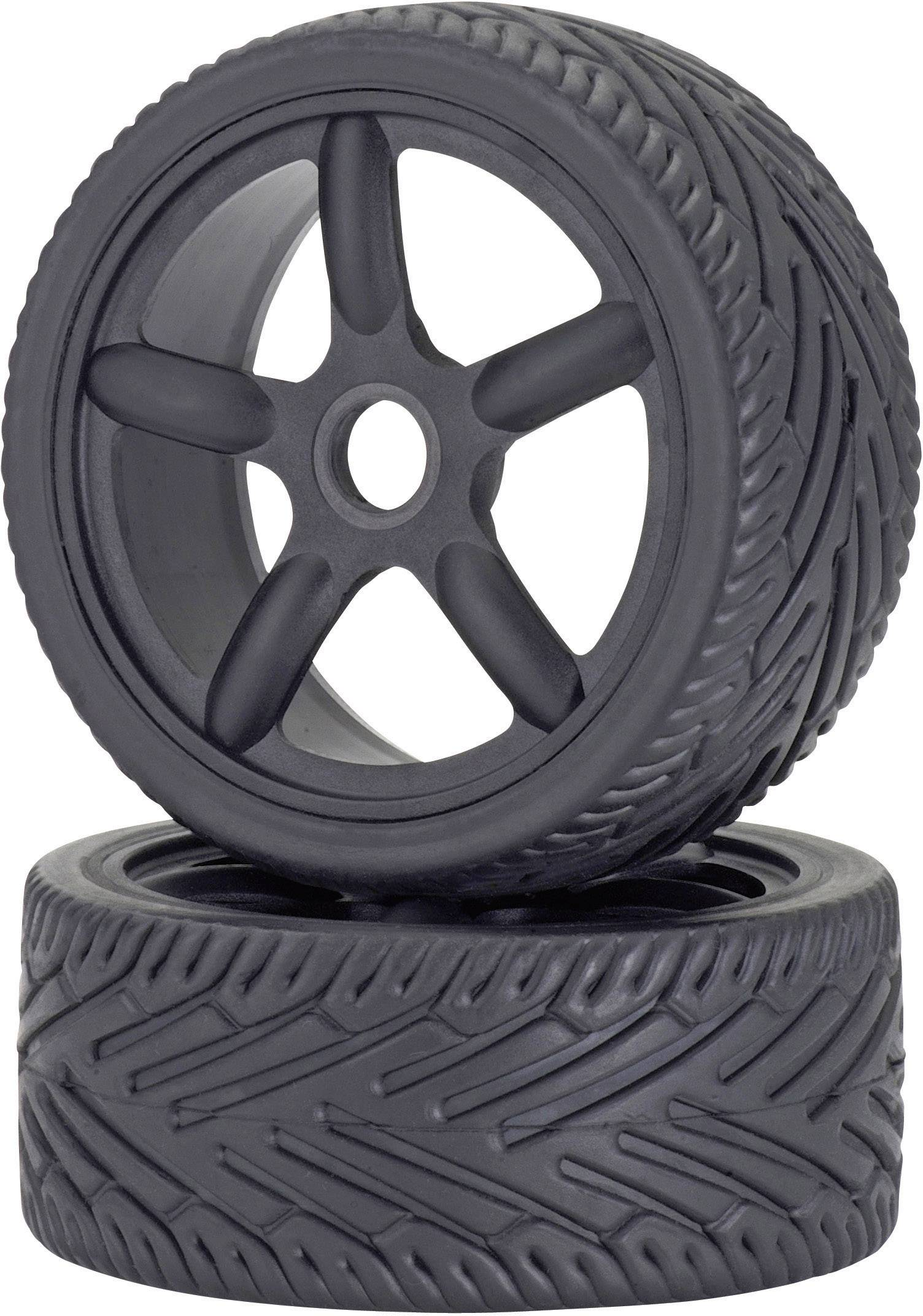 Kompletné kolesá On-Road Carson Modellsport 900076 pre cestný model, 100 mm, 1:8, 2 ks, čierna