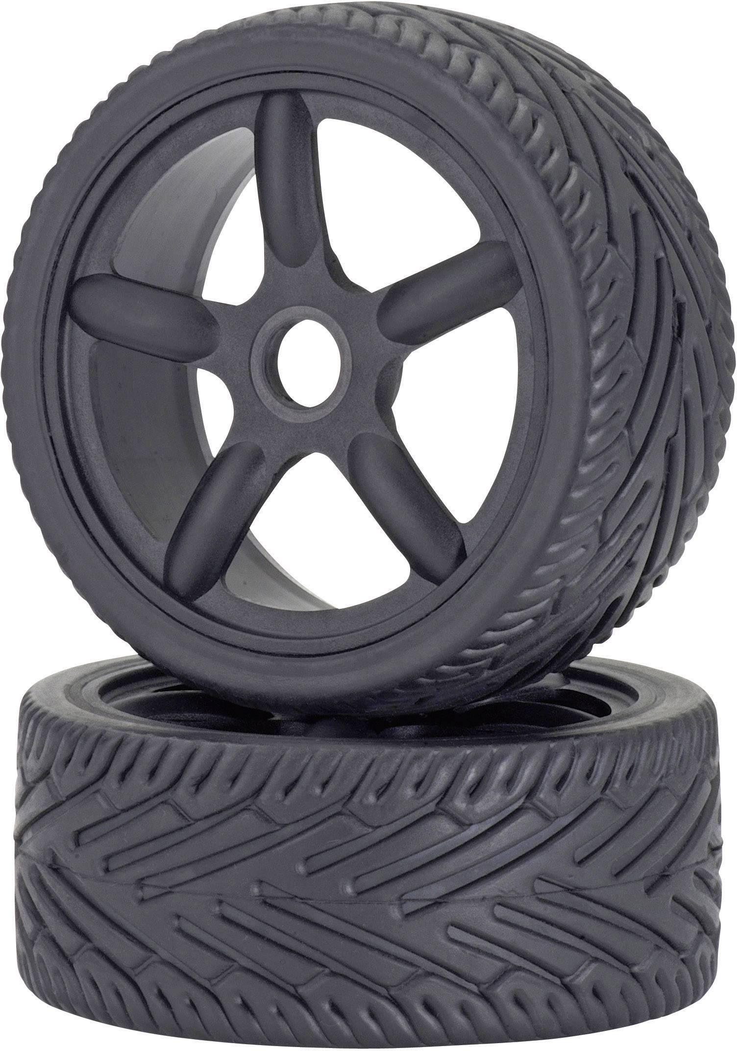 Kompletní kola On-Road Carson Modellsport 900076 pro silniční model, 100 mm, 1:8, 2 ks, černá