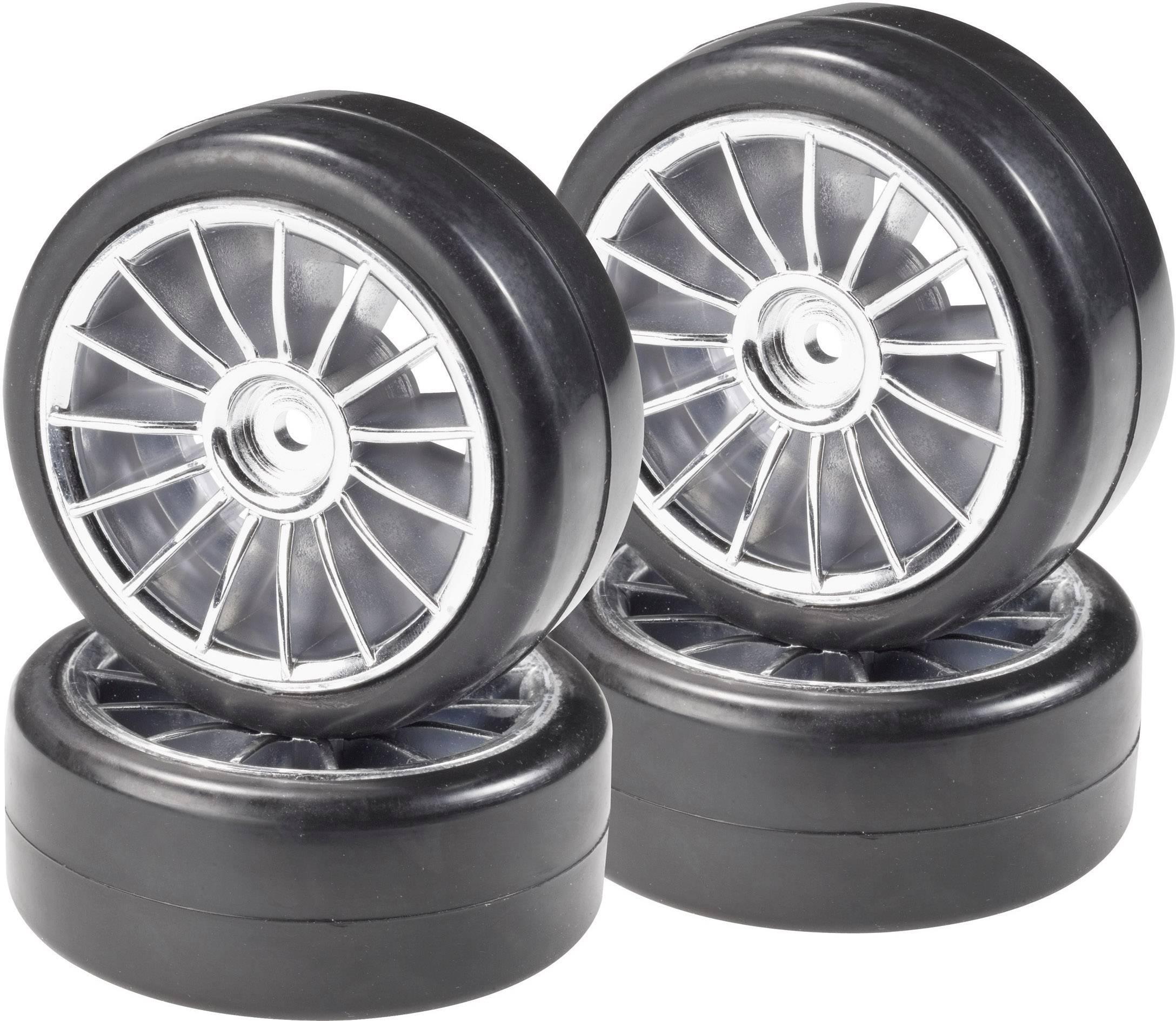Kompletné kolesá Slick Reely 435c9 pre cestný model, 64 mm, 1:10, 4 ks, strieborná