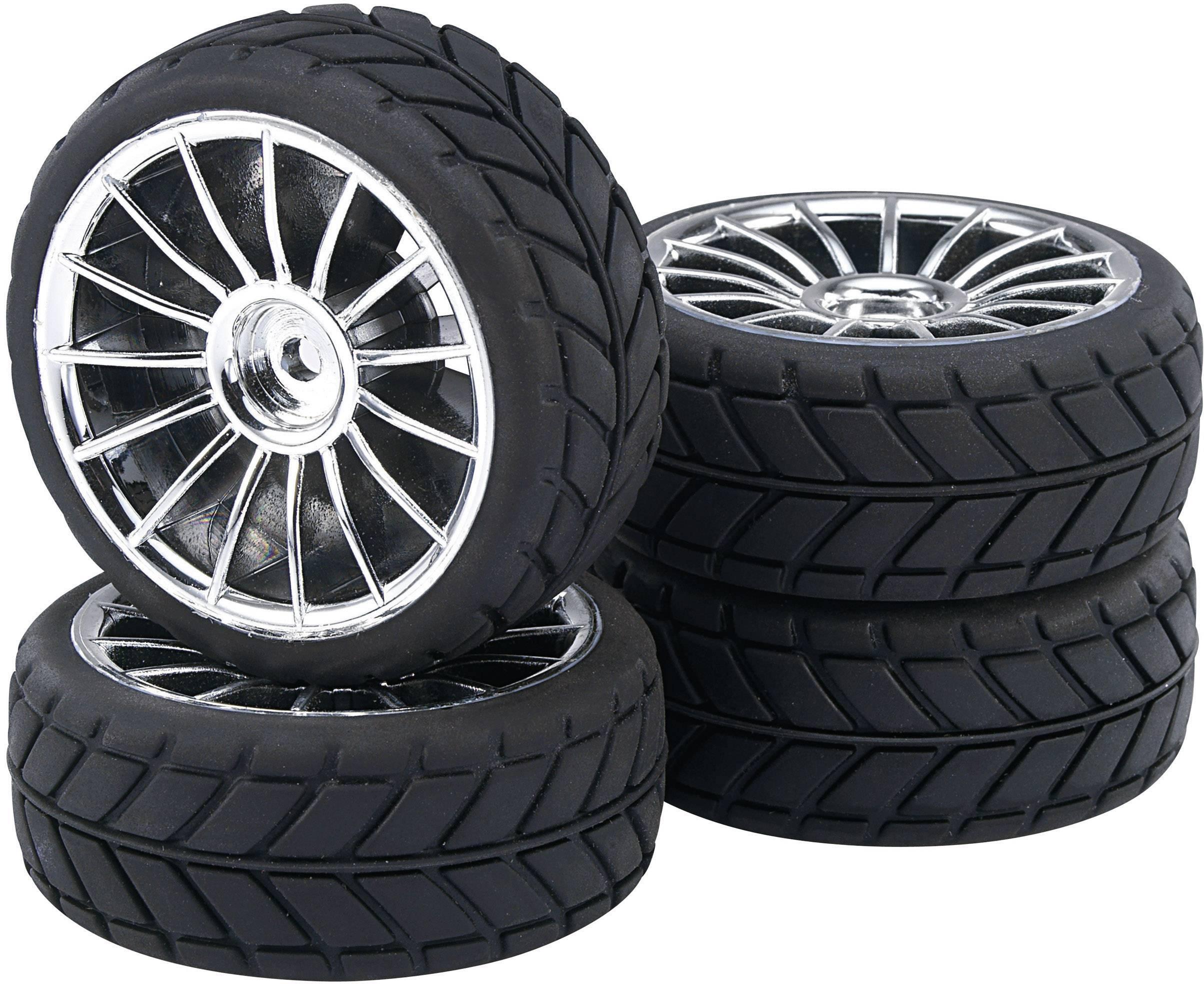 Kompletné kolesá V-Slick Reely 511681C pre cestný model, 64 mm, 1:10, 4 ks, titánová