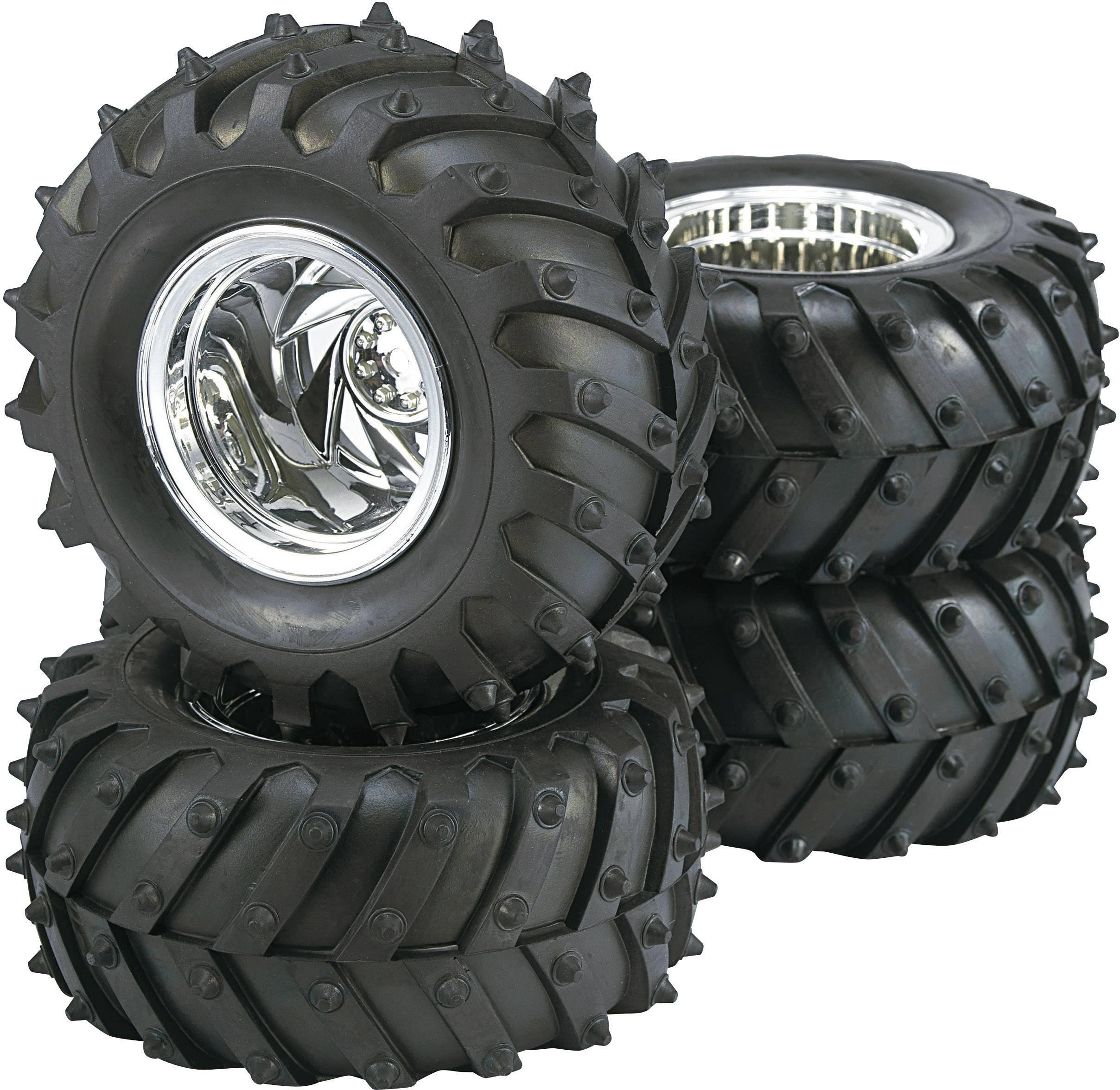Kompletné kolesá Reely 7203+7102 pre monster truck, 125 mm, 1:10, 4 ks, chróm
