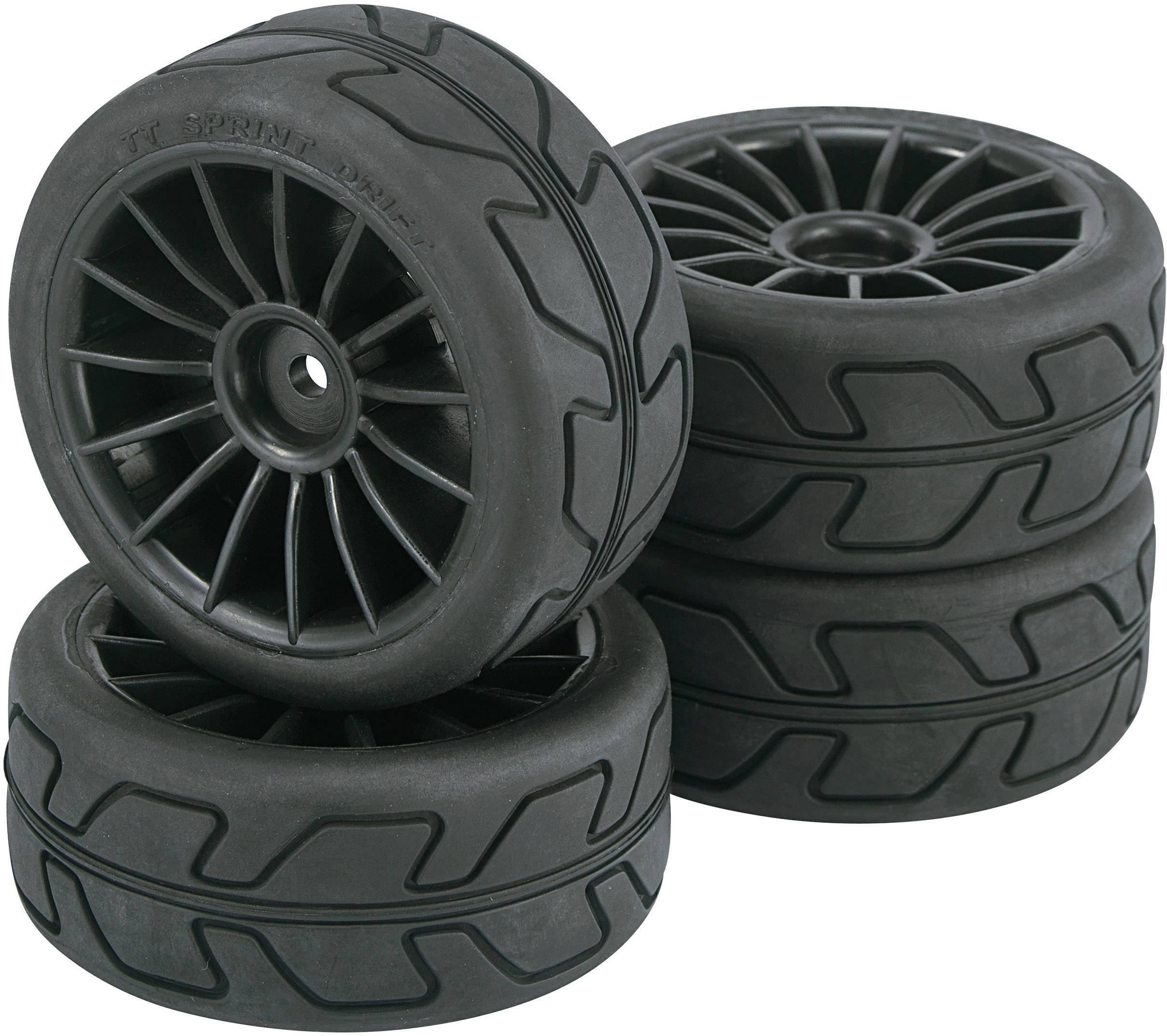 Kompletné kolesá Speed Reely 236029 pre cestný model, 65 mm, 1:10, 4 ks, čierna