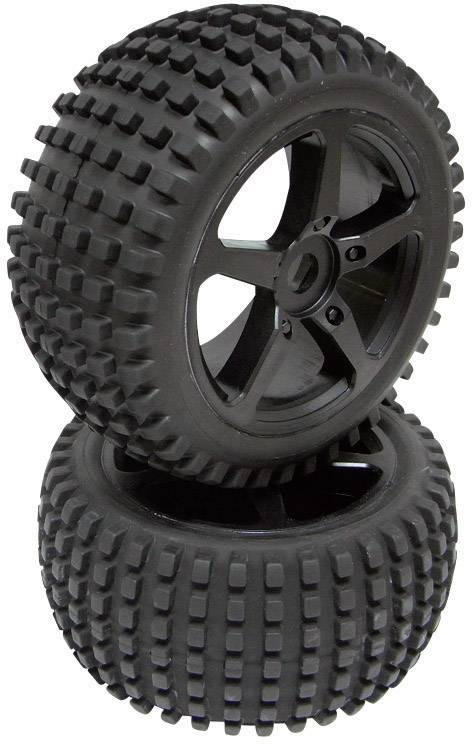 Kompletné kolesá Overheater Reely D06B01SBA1 pre truggy, 134 mm, 1:8, 1 pár, čierna