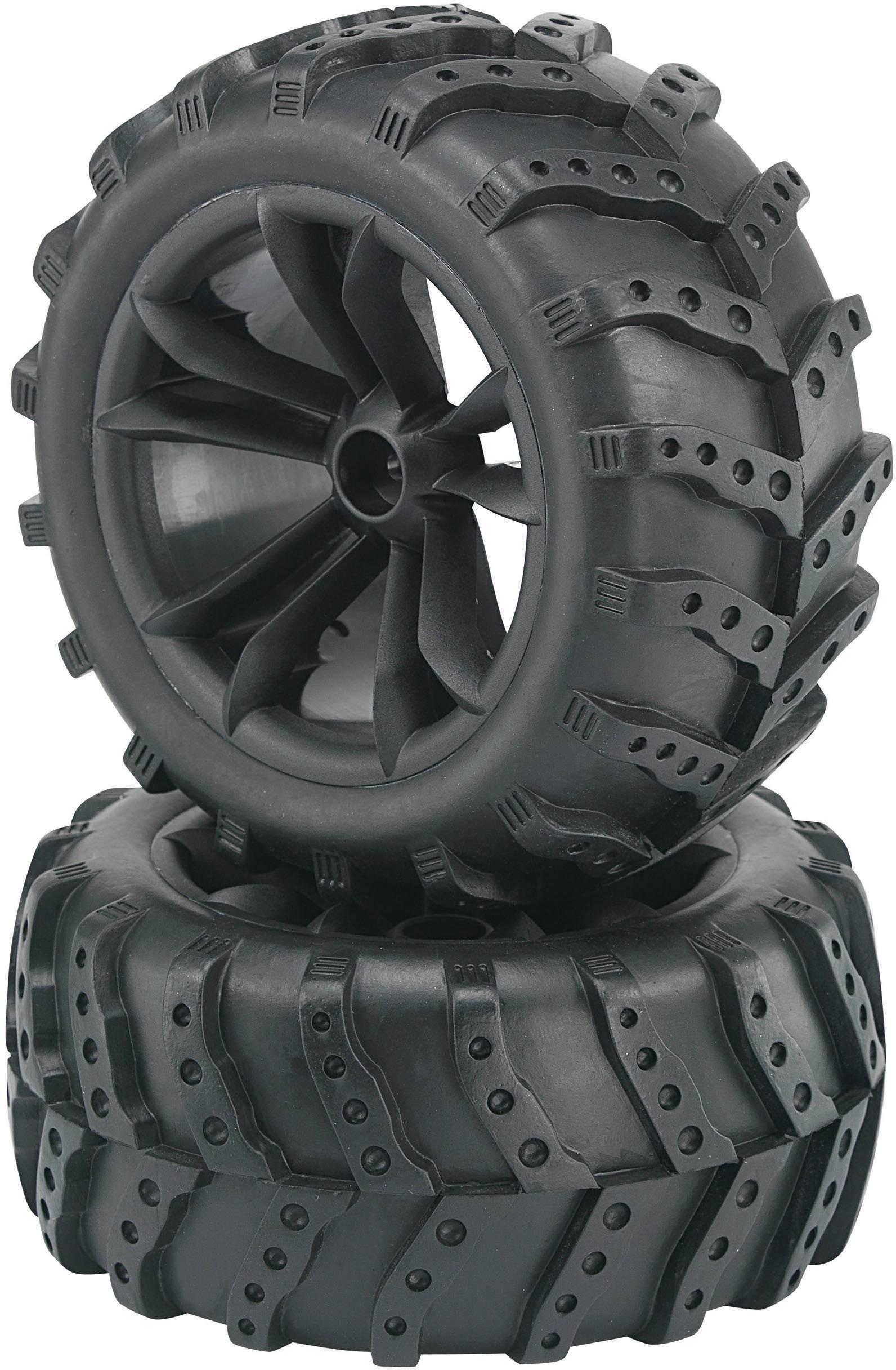Kompletné kolesá Extreme Reely 236925 pre monster truck, 132 mm, 1:10, 2 ks, čierna