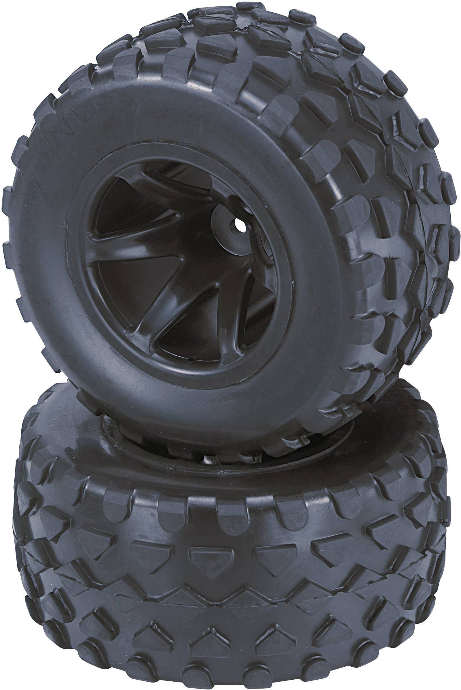 Kompletné kolesá Rhombo Reely 513016B pre truggy, 108 mm, 1:10, 2 ks, čierna