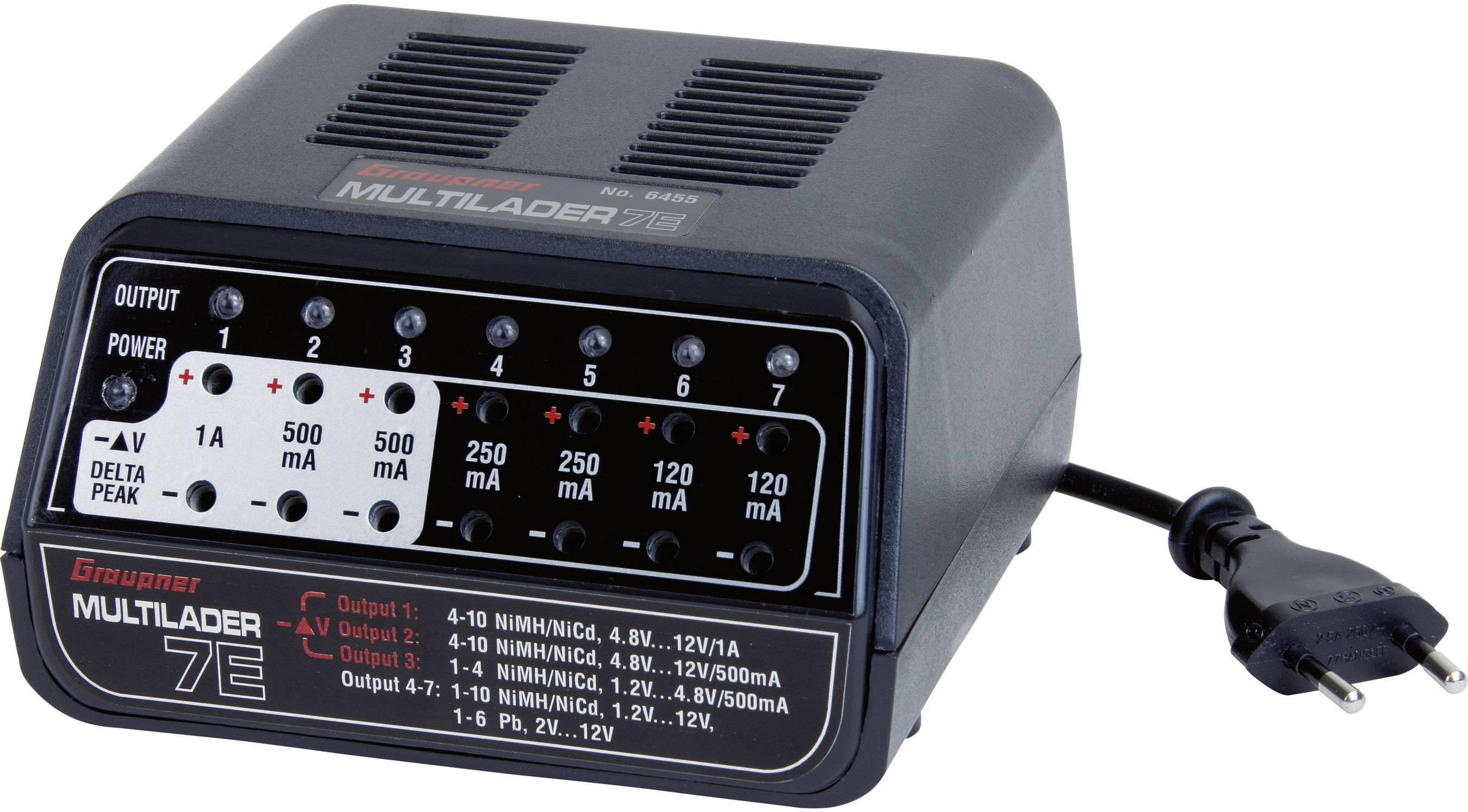 Modelářská multifunkční nabíječka Graupner 7E 6455, 230 V, 1 A