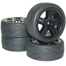 Kompletné kolesá High Grip Arrow Reely V236906BA3 pre cestný model, 65 mm, 1:10, 4 ks, čierna