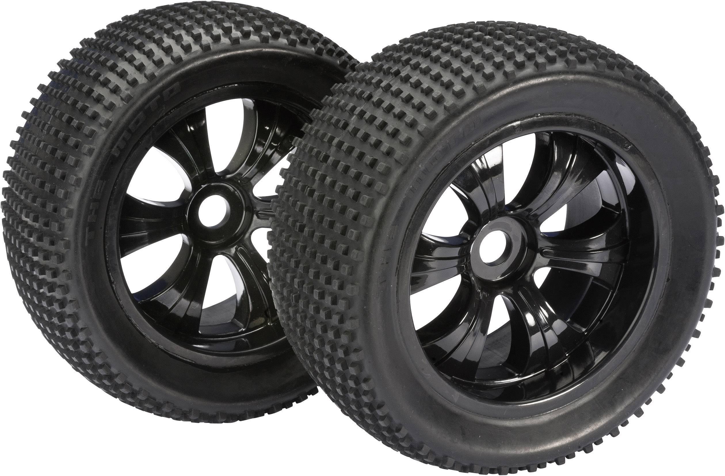 Kompletné kolesá Dirty Absima 2520013 pre truggy, 145 mm, 1:8, 2 ks, čierna