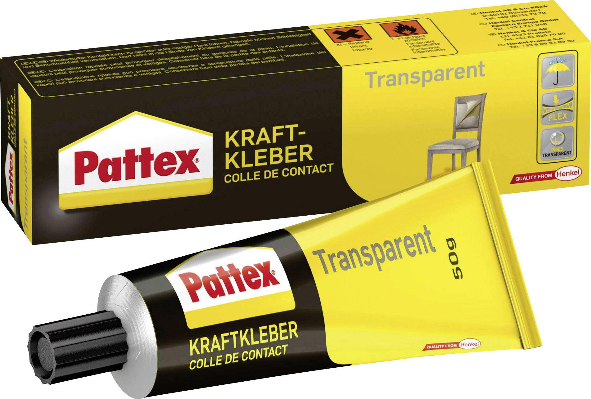 Kontaktné lepidlo Pattex Transparent;PXT1C, 50 g