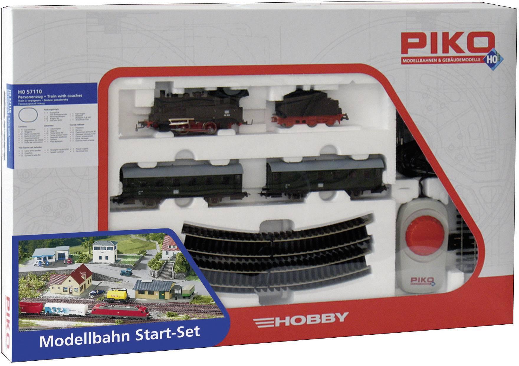 Startovací sada H0 osobního vlaku a parní lokomotivy Piko57110